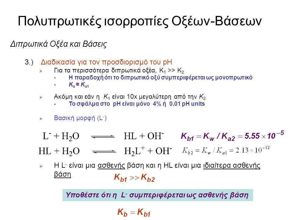 Πολυπρωτικές ισορροπίες Οξέων-Βάσεων Διπρωτικά Οξέα και Βάσεις 3.) Διαδικασία για τον προσδιορισμό του pH  Οξινη μορφή (H 2 L + ) Ποια είναι η [L - ]