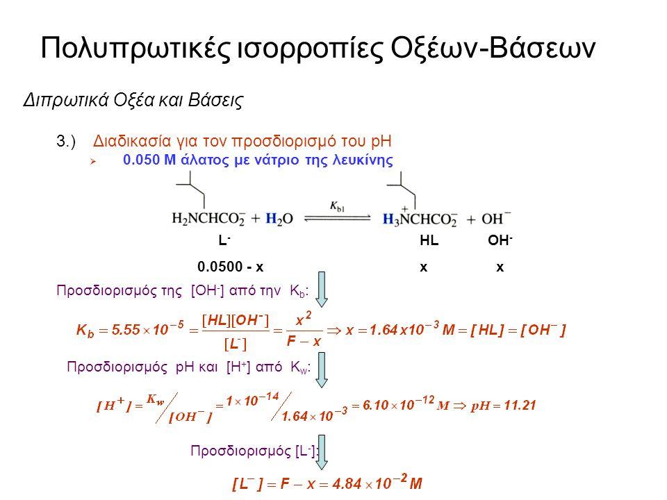 Πολυπρωτικές ισορροπίες Οξέων-Βάσεων Διπρωτικά Οξέα και Βάσεις 3.) Διαδικασία για τον προσδιορισμό του pH  Για τα περισσότερα διπρωτικά οξέα, K 1 >>