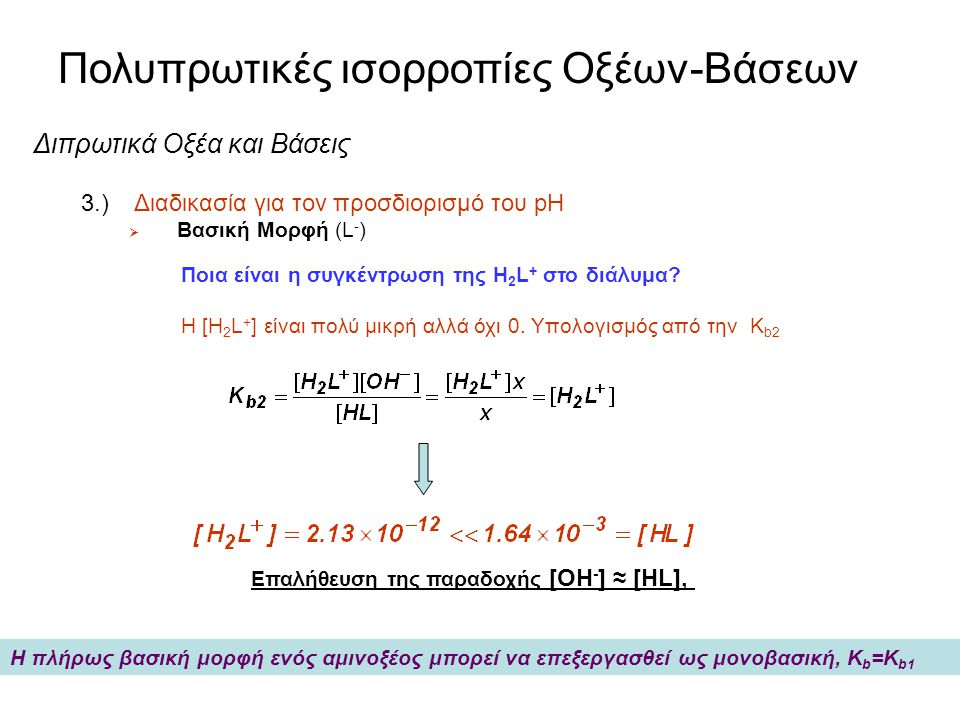 Πολυπρωτικές ισορροπίες Οξέων-Βάσεων Διπρωτικά Οξέα και Βάσεις 3.) Διαδικασία για τον προσδιορισμό του pH  0.050 M άλατος με νάτριο της λευκίνης L -