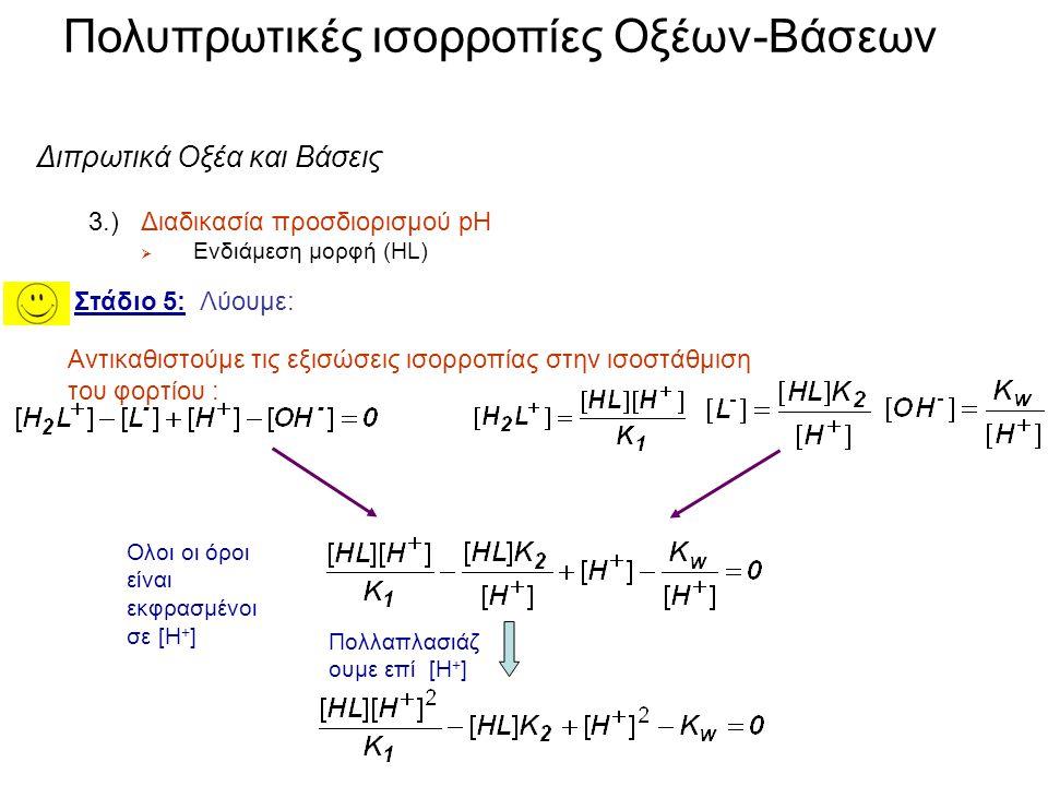 Πολυπρωτικές ισορροπίες Οξέων-Βάσεων Στάδιο 1: Ισορροπίες: Στάδιο 2: Ισοστάθμιση φορτίων: Στάδιο 3: Ισοστάθμιση μάζας: Στάδιο 4: Εκφραση της σταθεράς