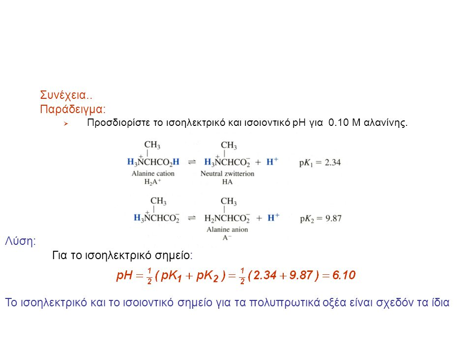 Ισοηλεκτρικό και Iσοîονικό pH Παράδειγμα:  Προσδιορίστε το ισοηλεκτρικό και ισοïοντικό pH για 0.10 M αλανίνης Λύση: Για το ισοïοντικό σημείο: