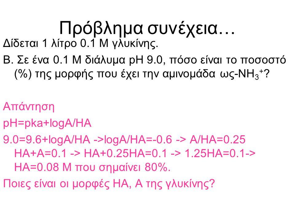 Πρόβλημα Δίδεται 1 λίτρο 0.1 Μ γλυκίνης. Α. Ποιες τιμές pH αναλογούν σε ένα αποτελεσματικό ρυθμιστικό διάλυμα γλυκίνης? Δίδονται pka 2.34 και 9.6 Απάν