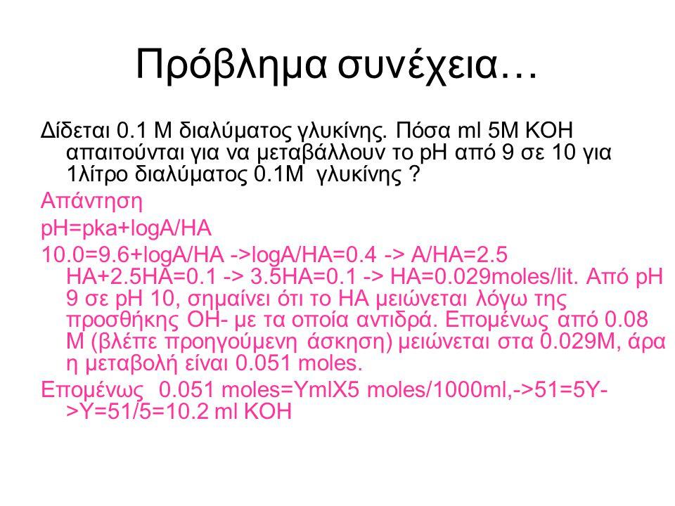 Πρόβλημα συνέχεια… Δίδεται 1 λίτρο 0.1 Μ γλυκίνης. Β. Σε ένα 0.1 M διάλυμα pH 9.0, πόσο είναι το ποσοστό (%) της μορφής που έχει την αμινομάδα ως-ΝΗ 3