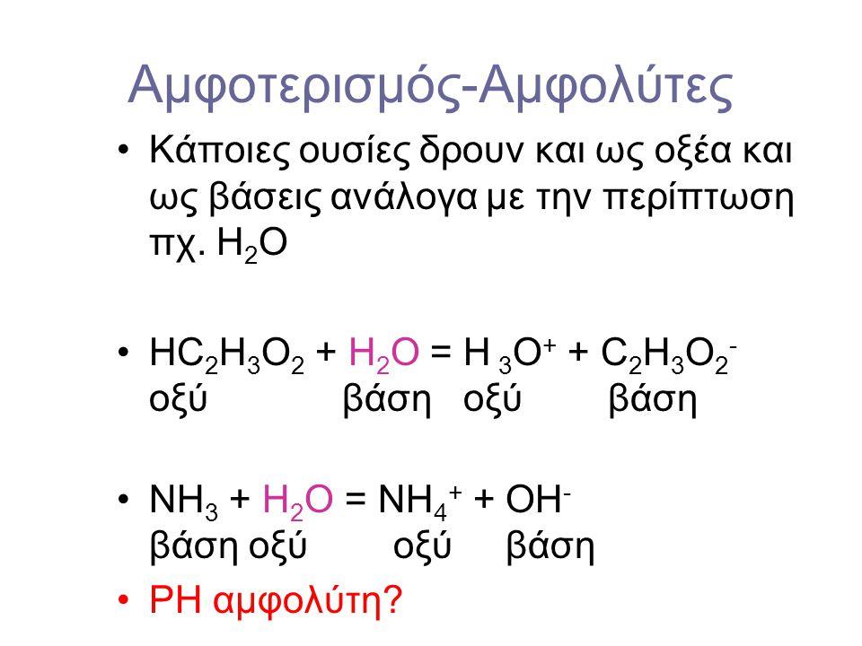 Ογκομέτρηση μιας ασθενούς βάσεως 1 – ασθενής βάση pH = 14 - 0.5 (pK b – log[βάση] 2 – ρυθμιστικό pH = pK a + log[βάση /οξύ] 3 – ισοδύναμο σημείο; Άλας