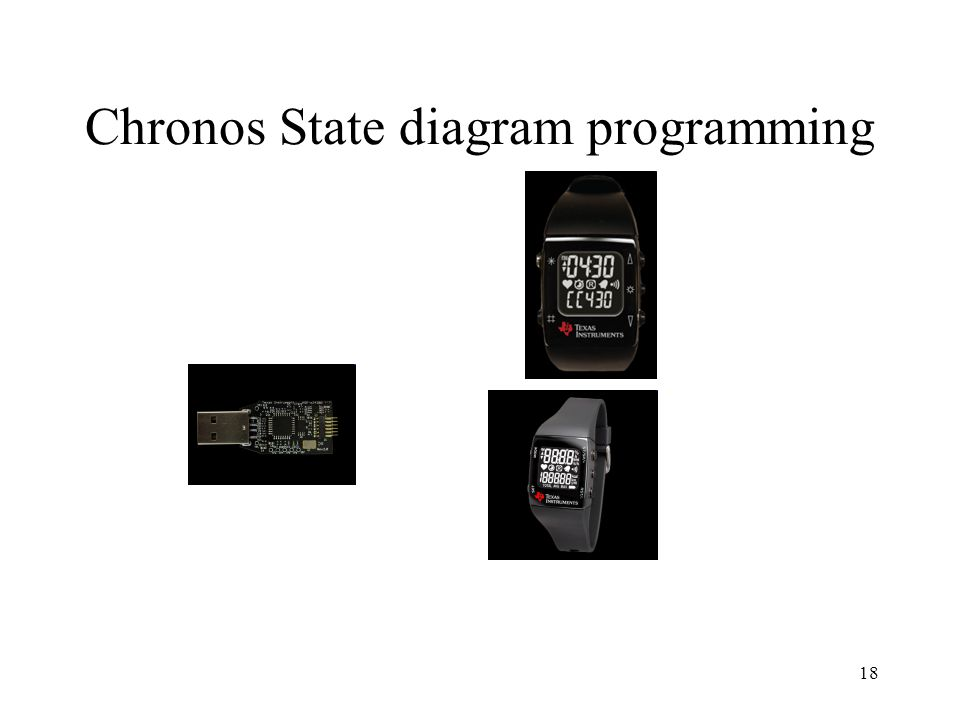 19 Chronos State diagram programming IAR visualSTATE6.3 Download: http://supp.iar.com/Download/SW/?item=V S-EVAL Choronos example projects: http://www.iar.com/website1/1.0.1.0/1867/1 /#chronosproject