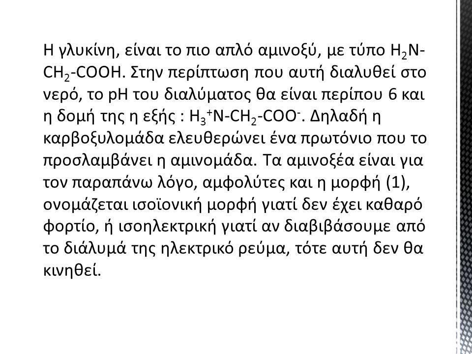 Η γλυκίνη, είναι το πιο απλό αμινοξύ, με τύπο Η 2 Ν- CH 2 -COOH. Στην περίπτωση που αυτή διαλυθεί στο νερό, το pH του διαλύματος θα είναι περίπου 6 κα
