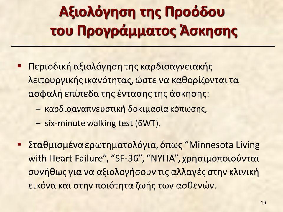 Αξιολόγηση της Προόδου του Προγράμματος Άσκησης  Περιοδική αξιολόγηση της καρδιοαγγειακής λειτουργικής ικανότητας, ώστε να καθορίζονται τα ασφαλή επί