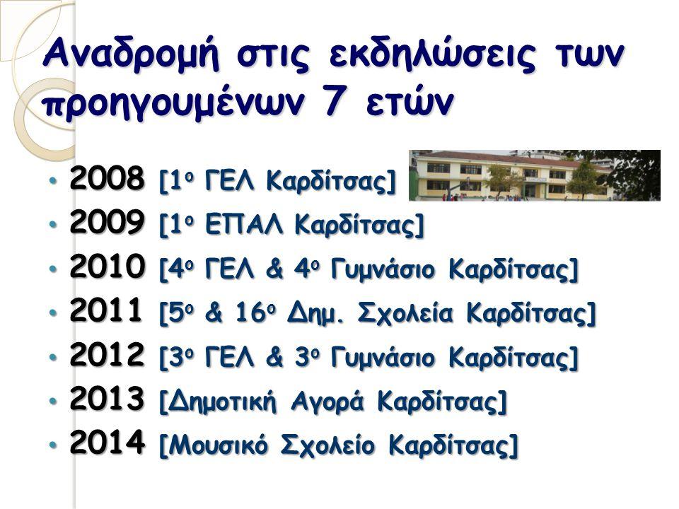 Αναδρομή στις εκδηλώσεις των προηγουμένων 7 ετών 2008 [1 ο ΓΕΛ Καρδίτσας] 2008 [1 ο ΓΕΛ Καρδίτσας] 2009 [1 ο ΕΠΑΛ Καρδίτσας] 2009 [1 ο ΕΠΑΛ Καρδίτσας] 2010 [4 ο ΓΕΛ & 4 ο Γυμνάσιο Καρδίτσας] 2010 [4 ο ΓΕΛ & 4 ο Γυμνάσιο Καρδίτσας] 2011 [5 ο & 16 ο Δημ.