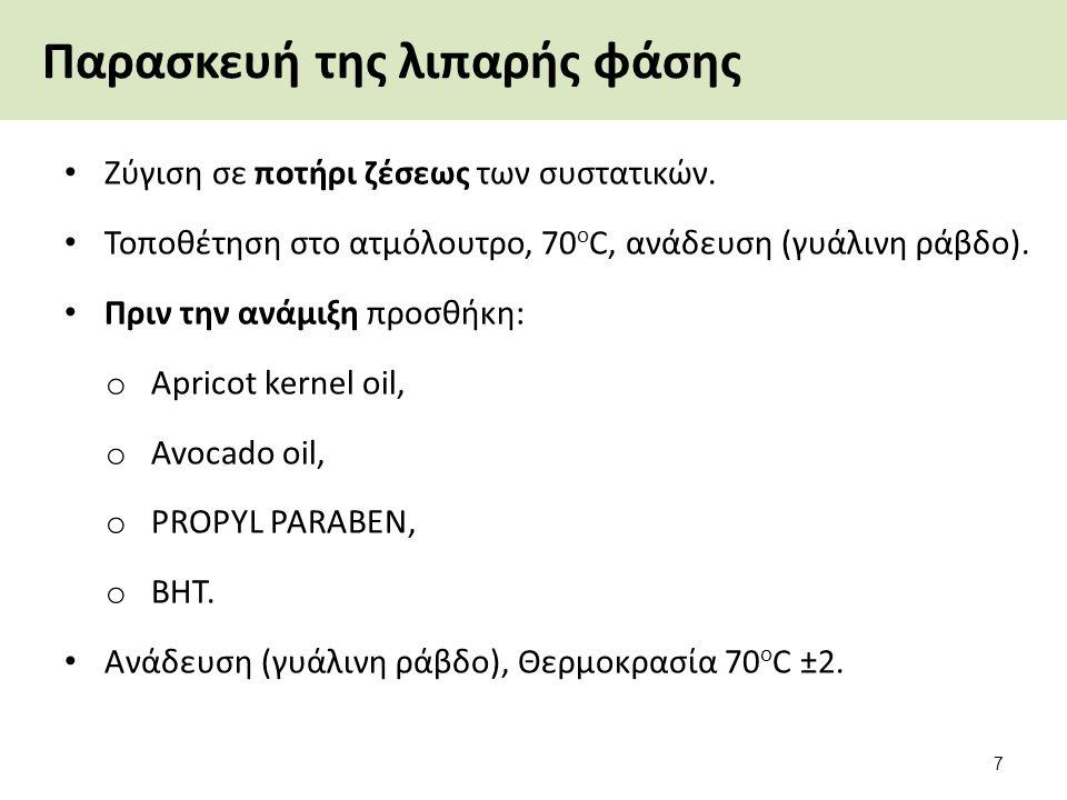 Παρασκευή της λιπαρής φάσης Ζύγιση σε ποτήρι ζέσεως των συστατικών. Τοποθέτηση στο ατμόλουτρο, 70 ο C, ανάδευση (γυάλινη ράβδο). Πριν την ανάμιξη προσ