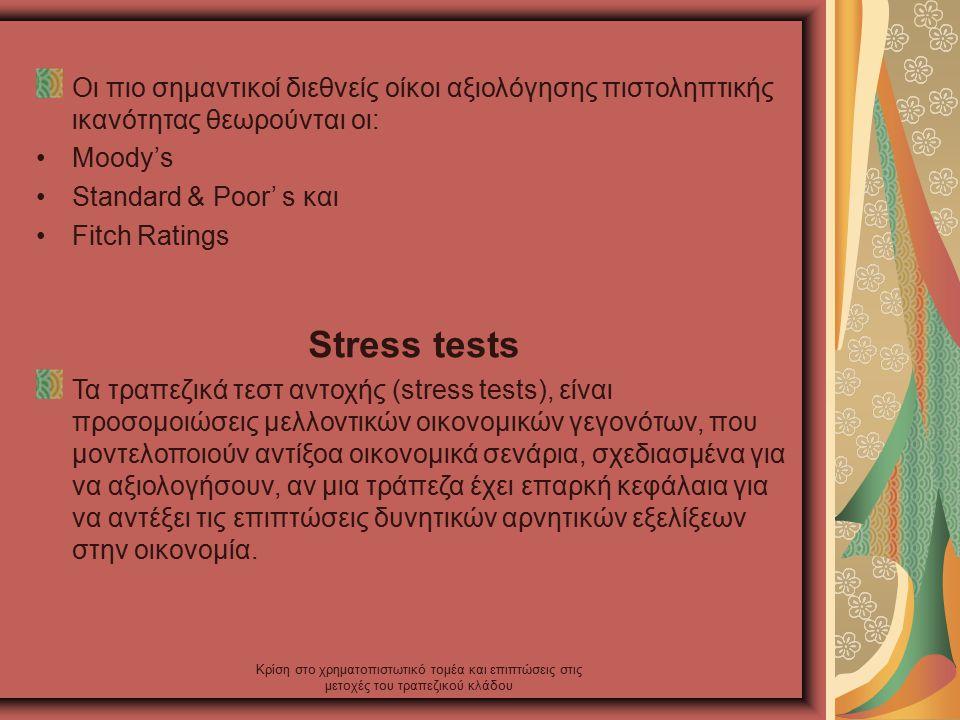 Κρίση στο χρηματοπιστωτικό τομέα και επιπτώσεις στις μετοχές του τραπεζικού κλάδου Οι πιο σημαντικοί διεθνείς οίκοι αξιολόγησης πιστοληπτικής ικανότητας θεωρούνται οι: Moody's Standard & Poor' s και Fitch Ratings Stress tests Τα τραπεζικά τεστ αντοχής (stress tests), είναι προσομοιώσεις μελλοντικών οικονομικών γεγονότων, που μοντελοποιούν αντίξοα οικονομικά σενάρια, σχεδιασμένα για να αξιολογήσουν, αν μια τράπεζα έχει επαρκή κεφάλαια για να αντέξει τις επιπτώσεις δυνητικών αρνητικών εξελίξεων στην οικονομία.