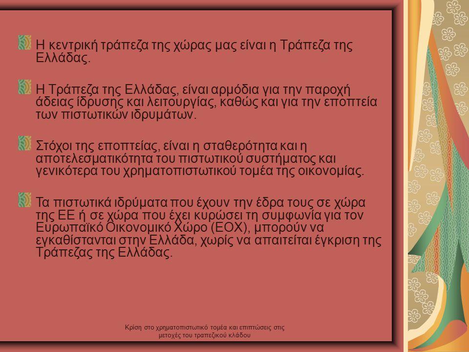 Κρίση στο χρηματοπιστωτικό τομέα και επιπτώσεις στις μετοχές του τραπεζικού κλάδου Η κεντρική τράπεζα της χώρας μας είναι η Τράπεζα της Ελλάδας.