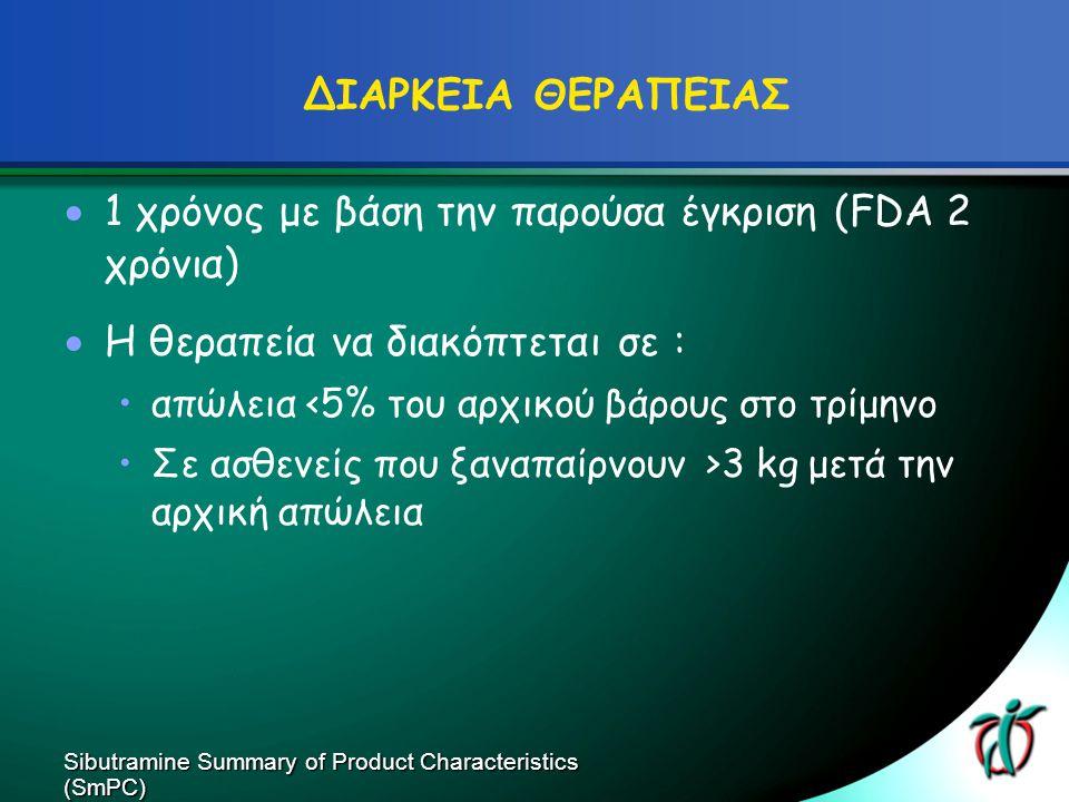 ΔΙΑΡΚΕΙΑ ΘΕΡΑΠΕΙΑΣ  1 χρόνος με βάση την παρούσα έγκριση (FDA 2 χρόνια)  Η θεραπεία να διακόπτεται σε : απώλεια <5% του αρχικού βάρους στο τρίμηνο Σ