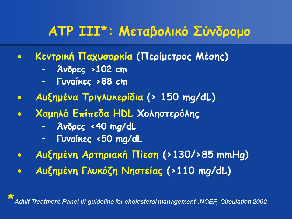 ATP III*: Μεταβολικό Σύνδρομο  Κεντρική Παχυσαρκία (Περίμετρος Μέσης) –Άνδρες >102 cm –Γυναίκες >88 cm  Αυξημένα Τριγλυκερίδια (> 150 mg/dL)  Χαμηλ
