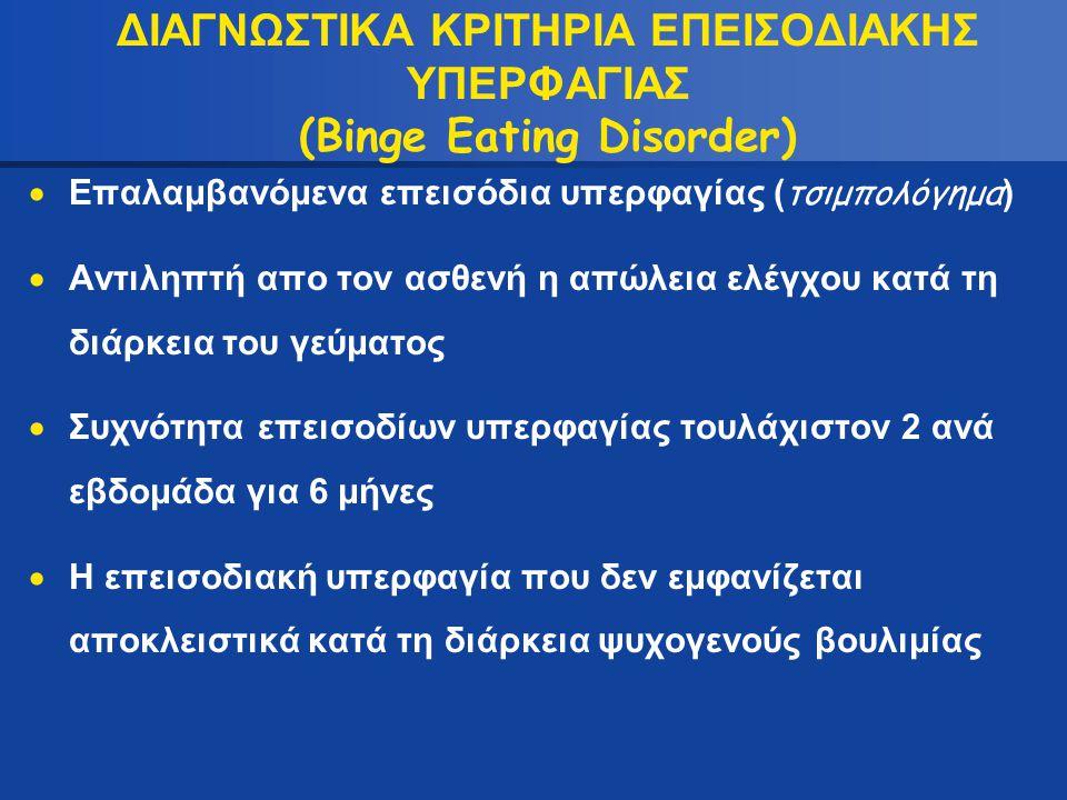ΔΙΑΓΝΩΣΤΙΚΑ ΚΡΙΤΗΡΙΑ ΕΠΕΙΣΟΔΙΑΚΗΣ ΥΠΕΡΦΑΓΙΑΣ (Binge Eating Disorder)  Επαλαμβανόμενα επεισόδια υπερφαγίας ( τσιμπολόγημα )  Αντιληπτή απο τον ασθενή