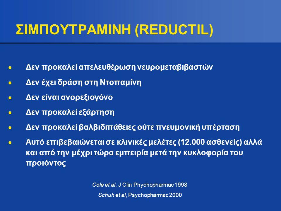 ΣΙΜΠΟΥΤΡΑΜΙΝΗ (REDUCTIL)  Δεν προκαλεί απελευθέρωση νευρομεταβιβαστών  Δεν έχει δράση στη Ντοπαμίνη  Δεν είναι ανορεξιογόνο  Δεν προκαλεί εξάρτηση