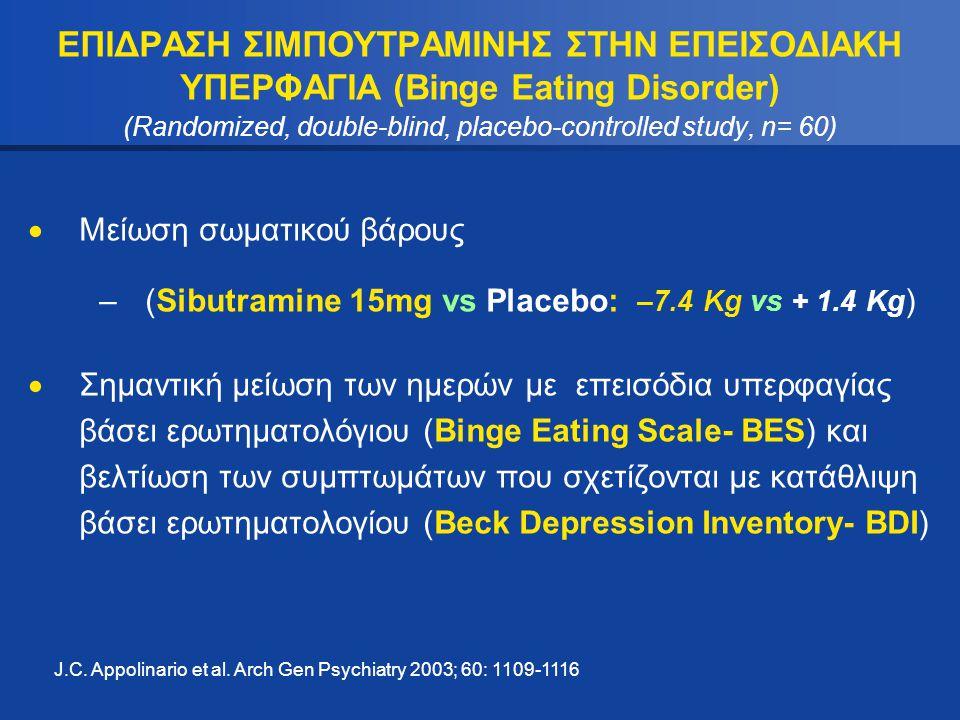 ΕΠΙΔΡΑΣΗ ΣΙΜΠΟΥΤΡΑΜΙΝΗΣ ΣΤΗΝ ΕΠΕΙΣΟΔΙΑΚΗ ΥΠΕΡΦΑΓΙΑ (Binge Eating Disorder) (Randomized, double-blind, placebo-controlled study, n= 60)  Μείωση σωματι