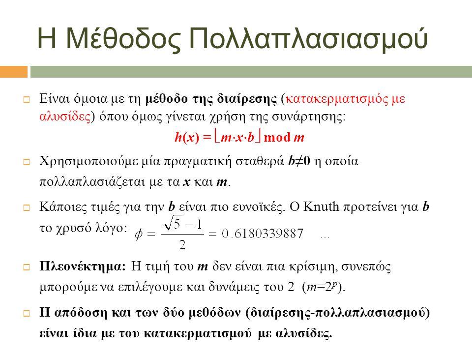 Η Μέθοδος Πολλαπλασιασμού  Είναι όμοια με τη μέθοδο της διαίρεσης (κατακερματισμός με αλυσίδες) όπου όμως γίνεται χρήση της συνάρτησης: h(x) =  m  x  b  mod m  Χρησιμοποιούμε μία πραγματική σταθερά b≠0 η οποία πολλαπλασιάζεται με τα x και m.
