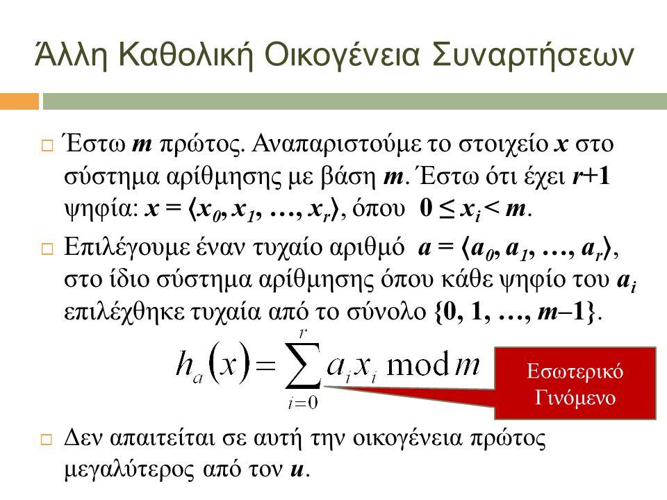 Άλλη Καθολική Οικογένεια Συναρτήσεων  Έστω m πρώτος. Αναπαριστούμε το στοιχείο x στο σύστημα αρίθμησης με βάση m. Έστω ότι έχει r+1 ψηφία: x = 〈 x 0,