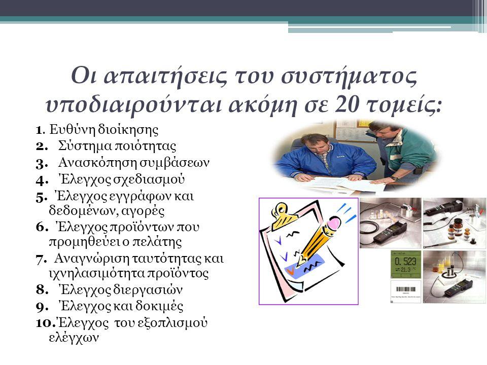 Οι απαιτήσεις του συστήματος υποδιαιρούνται ακόμη σε 20 τομείς: 1. Ευθύνη διοίκησης 2. Σύστημα ποιότητας 3. Ανασκόπηση συμβάσεων 4. Έλεγχος σχεδιασμού