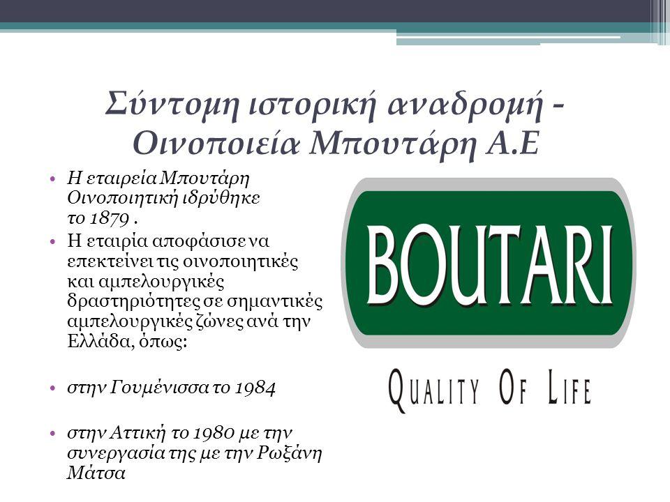 Σύντομη ιστορική αναδρομή - Οινοποιεία Μπουτάρη Α.Ε Η εταιρεία Μπουτάρη Οινοποιητική ιδρύθηκε το 1879. Η εταιρία αποφάσισε να επεκτείνει τις οινοποιητ