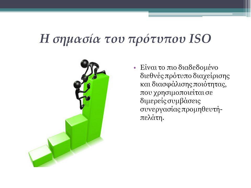 Η σημασία του πρότυπου ISO Είναι το πιο διαδεδομένο διεθνές πρότυπο διαχείρισης και διασφάλισης ποιότητας, που χρησιμοποιείται σε διμερείς συμβάσεις σ