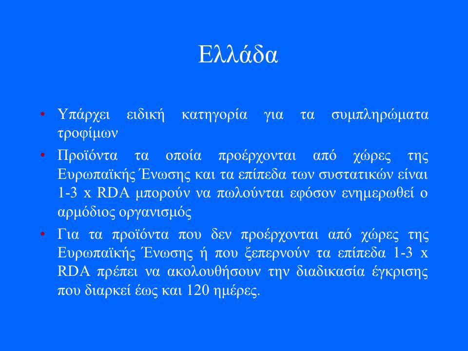 Ελλάδα Υπάρχει ειδική κατηγορία για τα συμπληρώματα τροφίμων Προϊόντα τα οποία προέρχονται από χώρες της Ευρωπαϊκής Ένωσης και τα επίπεδα των συστατικών είναι 1-3 x RDA μπορούν να πωλούνται εφόσον ενημερωθεί ο αρμόδιος οργανισμός Για τα προϊόντα που δεν προέρχονται από χώρες της Ευρωπαϊκής Ένωσης ή που ξεπερνούν τα επίπεδα 1-3 x RDA πρέπει να ακολουθήσουν την διαδικασία έγκρισης που διαρκεί έως και 120 ημέρες.