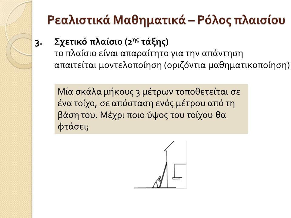 Ρεαλιστικά Μαθηματικά – Ρόλος πλαισίου 3.Σχετικό πλαίσιο (2 ης τάξης ) το πλαίσιο είναι απαραίτητο για την απάντηση απαιτείται μοντελοποίηση ( οριζόντια μαθηματικοποίηση ) Μία σκάλα μήκους 3 μέτρων τοποθετείται σε ένα τοίχο, σε απόσταση ενός μέτρου από τη βάση του.