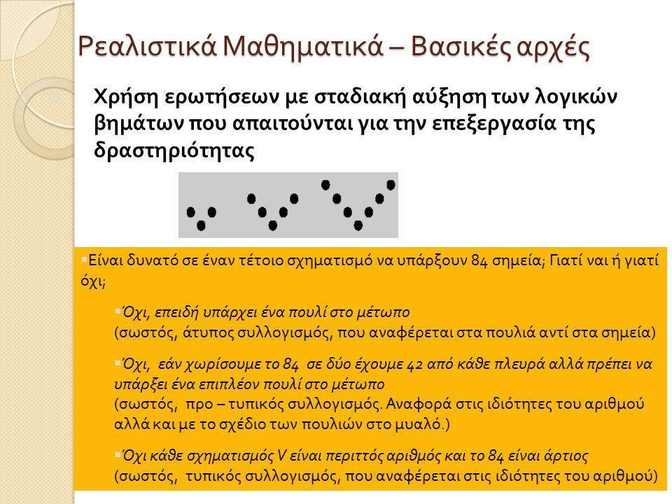 Ρεαλιστικά Μαθηματικά – Βασικές αρχές Χρήση ερωτήσεων με σταδιακή αύξηση των λογικών βημάτων που απαιτούνται για την επεξεργασία της δραστηριότητας  Είναι δυνατό σε έναν τέτοιο σχηματισμό να υπάρξουν 84 σημεία ; Γιατί ναι ή γιατί όχι ;  Όχι, επειδή υπάρχει ένα πουλί στο μέτωπο ( σωστός, άτυπος συλλογισμός, που αναφέρεται στα πουλιά αντί στα σημεία )  Όχι, εάν χωρίσουμε το 84 σε δύο έχουμε 42 από κάθε πλευρά αλλά πρέπει να υπάρξει ένα επιπλέον πουλί στο μέτωπο ( σωστός, προ – τυπικός συλλογισμός.
