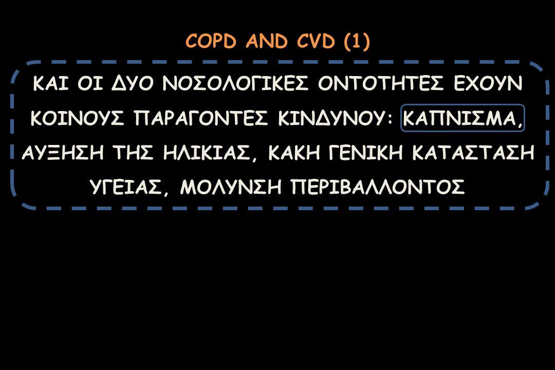 COPD AND CVD (1) ΚΑΙ ΟΙ ΔΥΟ ΝΟΣΟΛΟΓΙΚΕΣ ΟΝΤΟΤΗΤΕΣ ΕΧΟΥΝ ΚΟΙΝΟΥΣ ΠΑΡΑΓΟΝΤΕΣ ΚΙΝΔΥΝΟΥ: ΚΑΠΝΙΣΜΑ, ΑΥΞΗΣΗ ΤΗΣ ΗΛΙΚΙΑΣ, ΚΑΚΗ ΓΕΝΙΚΗ ΚΑΤΑΣΤΑΣΗ ΥΓΕΙΑΣ, ΜΟΛΥΝ