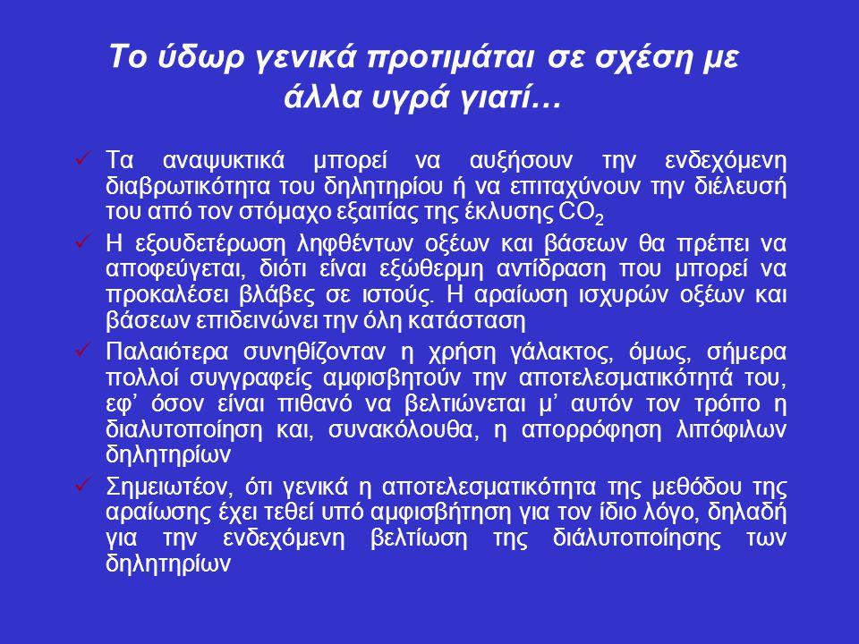 Το ύδωρ γενικά προτιμάται σε σχέση με άλλα υγρά γιατί… Τα αναψυκτικά μπορεί να αυξήσουν την ενδεχόμενη διαβρωτικότητα του δηλητηρίου ή να επιταχύνουν