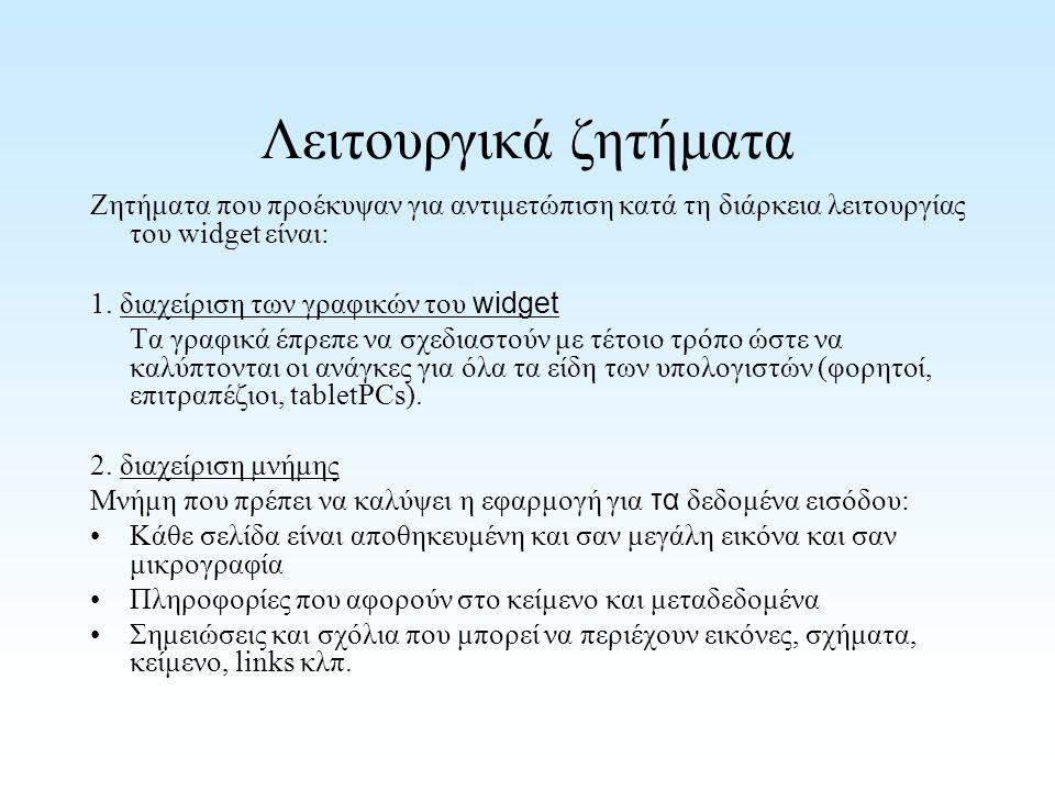 Λειτουργικά ζητήματα Ζητήματα που προέκυψαν για αντιμετώπιση κατά τη διάρκεια λειτουργίας του widget είναι: 1.