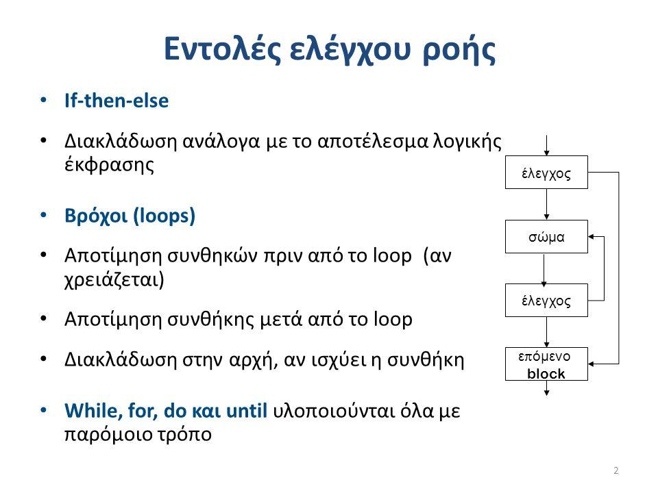 Εντολές ελέγχου ροής If-then-else Διακλάδωση ανάλογα με το αποτέλεσμα λογικής έκφρασης Βρόχοι (loops) Αποτίμηση συνθηκών πριν από το loop (αν χρειάζεται) Αποτίμηση συνθήκης μετά από το loop Διακλάδωση στην αρχή, αν ισχύει η συνθήκη While, for, do και until υλοποιούνται όλα με παρόμοιο τρόπο 2 έλεγχος σώμα έλεγχος ε π όμενο block
