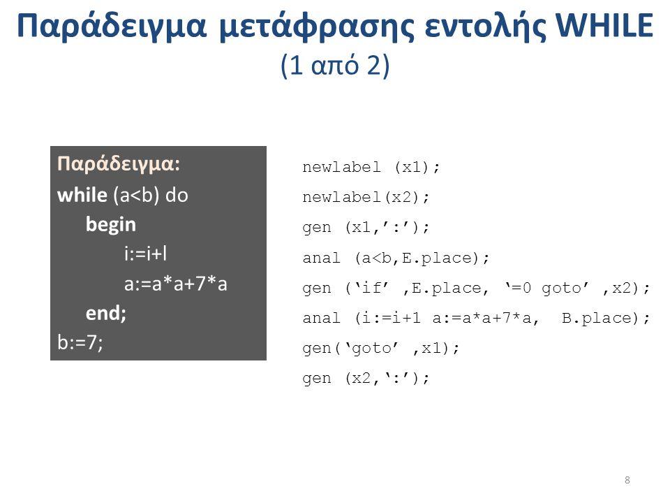 Παράδειγμα μετάφρασης εντολής WHILE (1 από 2) 8 Παράδειγμα: while (a<b) do begin i:=i+l a:=a*a+7*a end; b:=7; newlabel (x1); newlabel(x2); gen (x1,':'); anal (a<b,E.place); gen ('if',E.place, '=0 goto',x2); anal (i:=i+1 a:=a*a+7*a, B.place); gen('goto',x1); gen (x2,':');