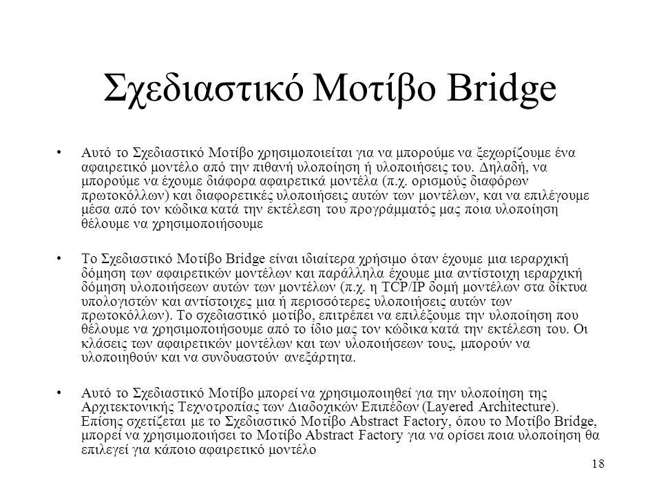 18 Σχεδιαστικό Μοτίβο Bridge Αυτό το Σχεδιαστικό Μοτίβο χρησιμοποιείται για να μπορούμε να ξεχωρίζουμε ένα αφαιρετικό μοντέλο από την πιθανή υλοποίηση