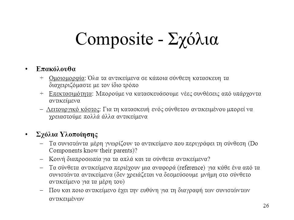 26 Composite - Σχόλια Επακόλουθα +Ομοιομορφία: Όλα τα αντικείμενα σε κάποια σύνθετη κατασκευη τα διαχειριζόμαστε με τον ίδιο τρόπο +Επεκτασιμότητα: Μπ