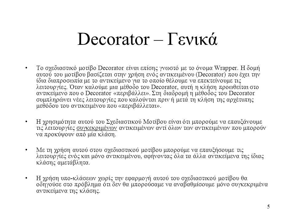 5 Decorator – Γενικά Το σχεδιαστικό μοτίβο Decorator είναι επίσης γνωστό με το όνομα Wrapper. Η δομή αυτού του μοτίβου βασίζεται στην χρήση ενός αντικ