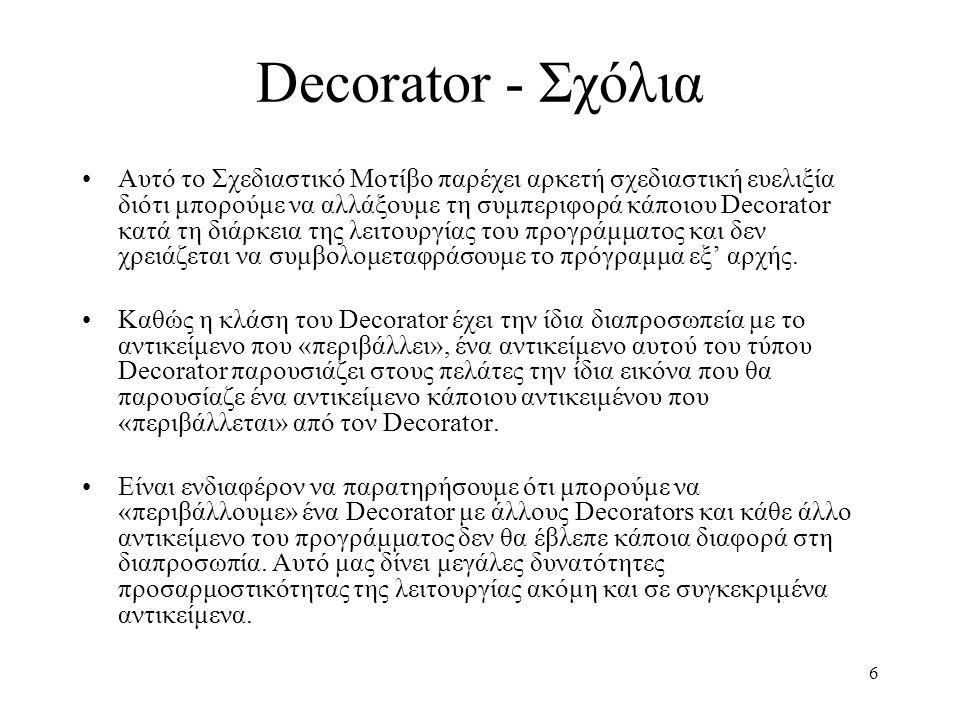 6 Decorator - Σχόλια Αυτό το Σχεδιαστικό Μοτίβο παρέχει αρκετή σχεδιαστική ευελιξία διότι μπορούμε να αλλάξουμε τη συμπεριφορά κάποιου Decorator κατά