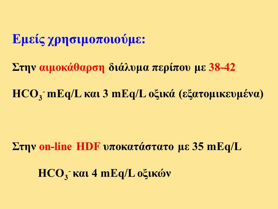 Εμείς χρησιμοποιούμε: Στην αιμοκάθαρση διάλυμα περίπου με 38-42 HCO 3 - mEq/L και 3 mEq/L οξικά (εξατομικευμένα) Στην on-line HDF υποκατάστατο με 35 m