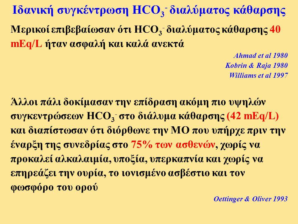 Μερικοί επιβεβαίωσαν ότι HCO 3 - διαλύματος κάθαρσης 40 mEq/L ήταν ασφαλή και καλά ανεκτά Ahmad et al 1980 Kobrin & Raja 1980 Williams et al 1997 Άλλο