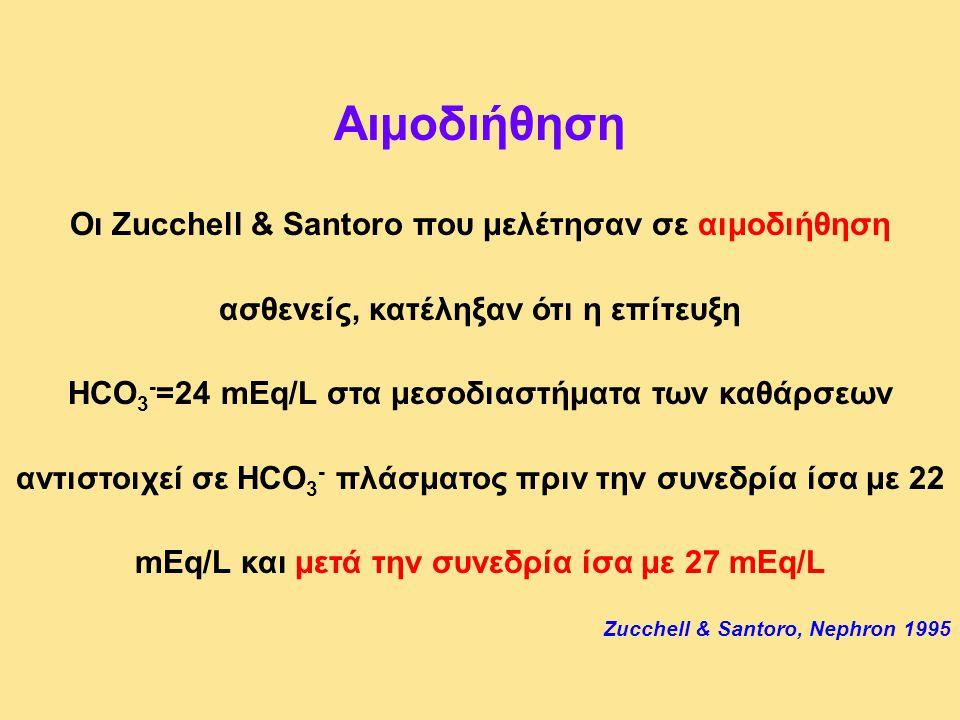 Αιμοδιήθηση Οι Zucchell & Santoro που μελέτησαν σε αιμοδιήθηση ασθενείς, κατέληξαν ότι η επίτευξη HCO 3 - =24 mEq/L στα μεσοδιαστήματα των καθάρσεων α