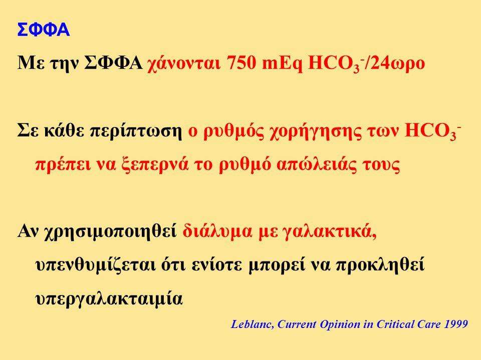 ΣΦΦΑ Με την ΣΦΦΑ χάνονται 750 mEq HCO 3 - /24ωρο Σε κάθε περίπτωση ο ρυθμός χορήγησης των HCO 3 - πρέπει να ξεπερνά το ρυθμό απώλειάς τους Αν χρησιμοπ