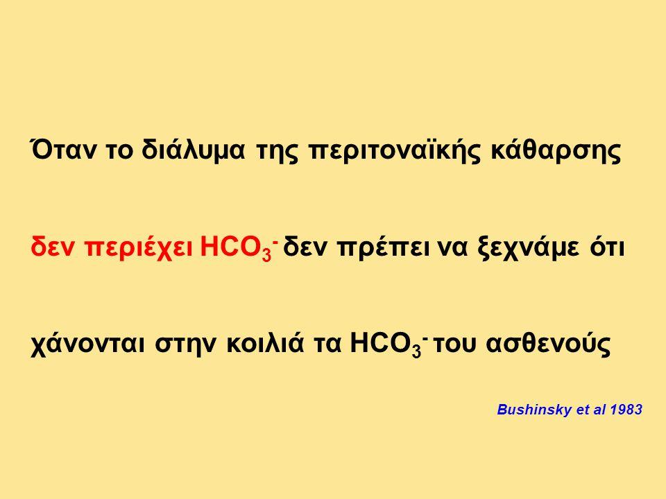 Όταν το διάλυμα της περιτοναϊκής κάθαρσης δεν περιέχει HCO 3 - δεν πρέπει να ξεχνάμε ότι χάνονται στην κοιλιά τα HCO 3 - του ασθενούς Bushinsky et al