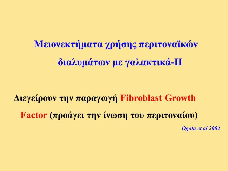 Μειονεκτήματα χρήσης περιτοναϊκών διαλυμάτων με γαλακτικά-ΙΙ Διεγείρουν την παραγωγή Fibroblast Growth Factor (προάγει την ίνωση του περιτοναίου) Ogat