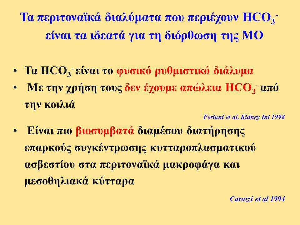 Τα περιτοναϊκά διαλύματα που περιέχουν HCO 3 - είναι τα ιδεατά για τη διόρθωση της ΜΟ Τα HCO 3 - είναι το φυσικό ρυθμιστικό διάλυμα Με την χρήση τους
