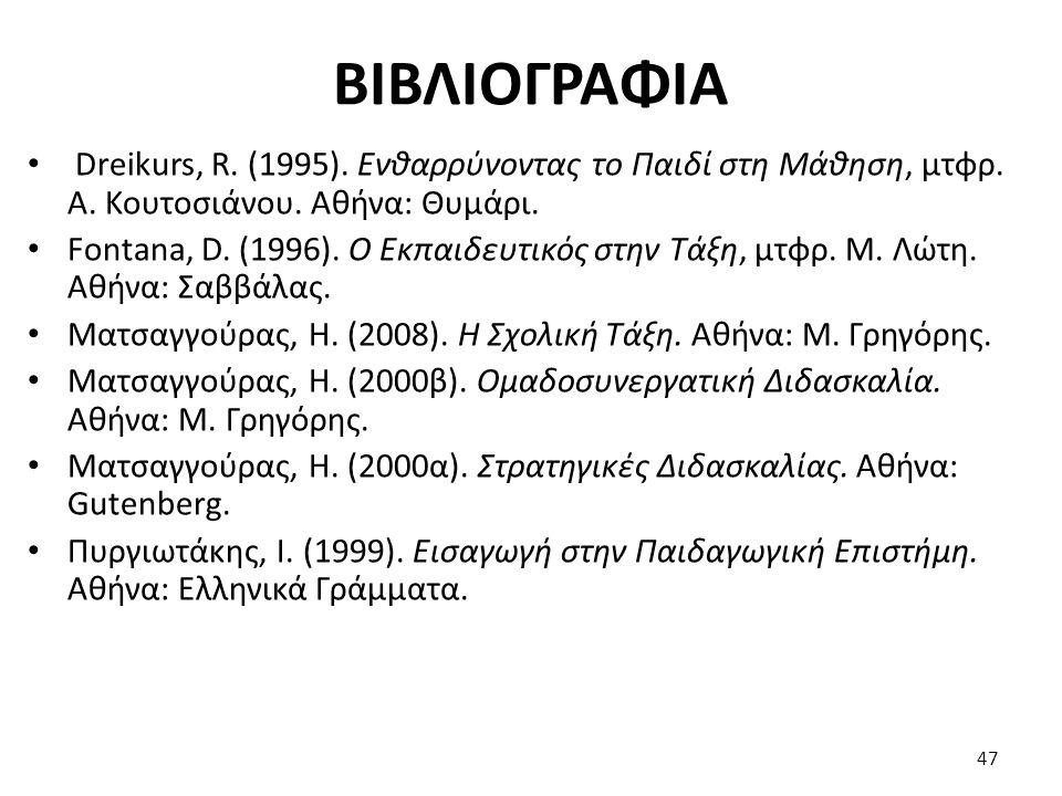ΒΙΒΛΙΟΓΡΑΦΙΑ Dreikurs, R. (1995). Ενθαρρύνοντας το Παιδί στη Μάθηση, μτφρ. Α. Κουτοσιάνου. Αθήνα: Θυμάρι. Fontana, D. (1996). Ο Εκπαιδευτικός στην Τάξ