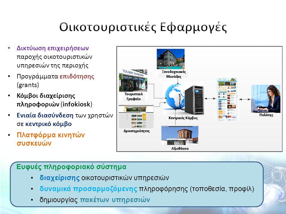 Δικτύωση επιχειρήσεων παροχής οικοτουριστικών υπηρεσιών της περιοχής Προγράμματα επιδότησης (grants) Κόμβοι διαχείρισης πληροφοριών (infokiosk) Ενιαία
