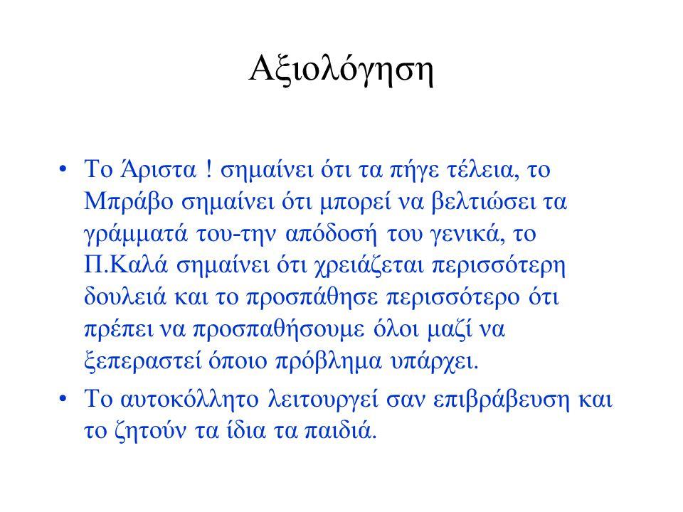 Αξιολόγηση Το Άριστα ! σημαίνει ότι τα πήγε τέλεια, το Μπράβο σημαίνει ότι μπορεί να βελτιώσει τα γράμματά του-την απόδοσή του γενικά, το Π.Καλά σημαί