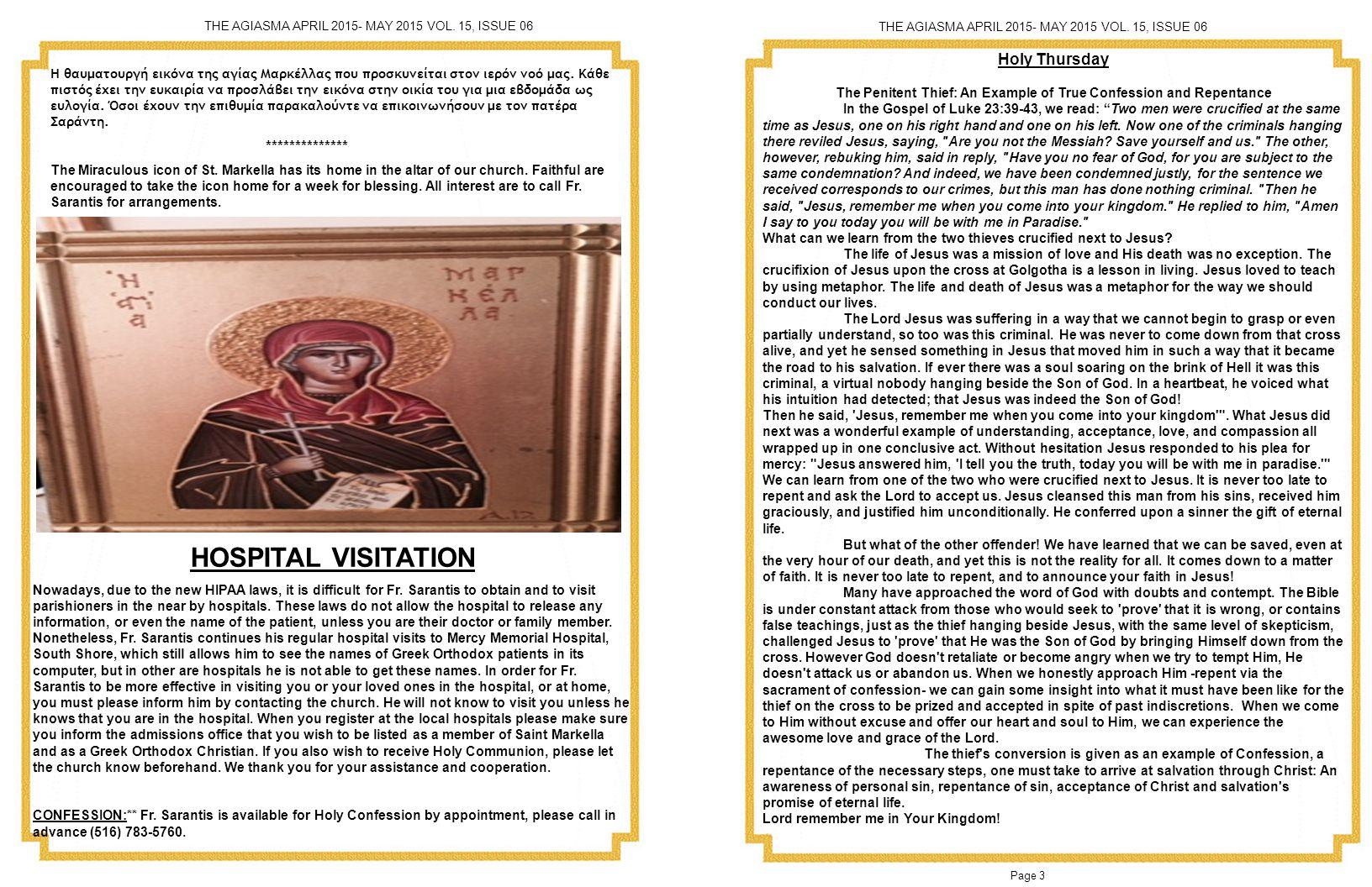 Page 22 Page 3 THE AGIASMA APRIL 2015- MAY 2015 VOL.