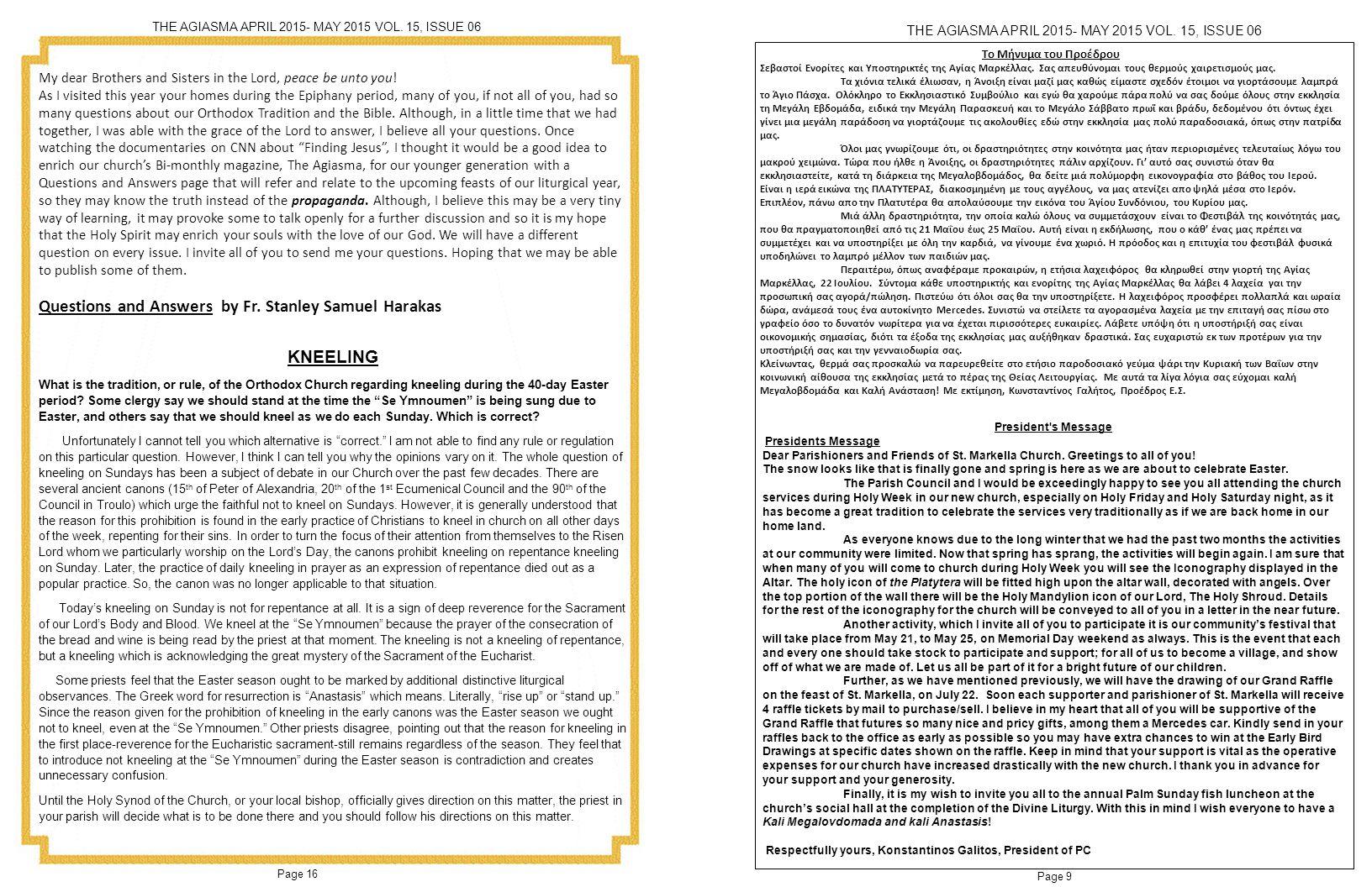 Page 10 Page 15 THE AGIASMA APRIL 2015- MAY 2015 VOL.