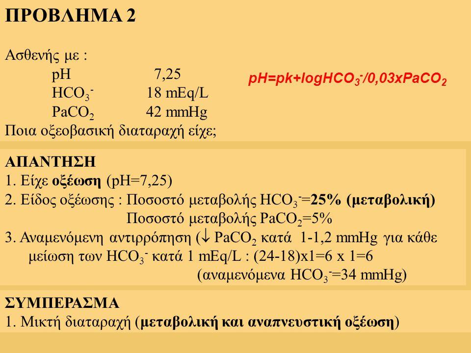 ΠΡΟΒΛΗΜΑ 2 Ασθενής με : pH 7,25 HCO 3 - 18 mEq/L PaCO 2 42 mmHg Ποια οξεοβασική διαταραχή είχε; ΑΠΑΝΤΗΣΗ 1. Είχε οξέωση (pH=7,25) 2. Είδος οξέωσης : Π